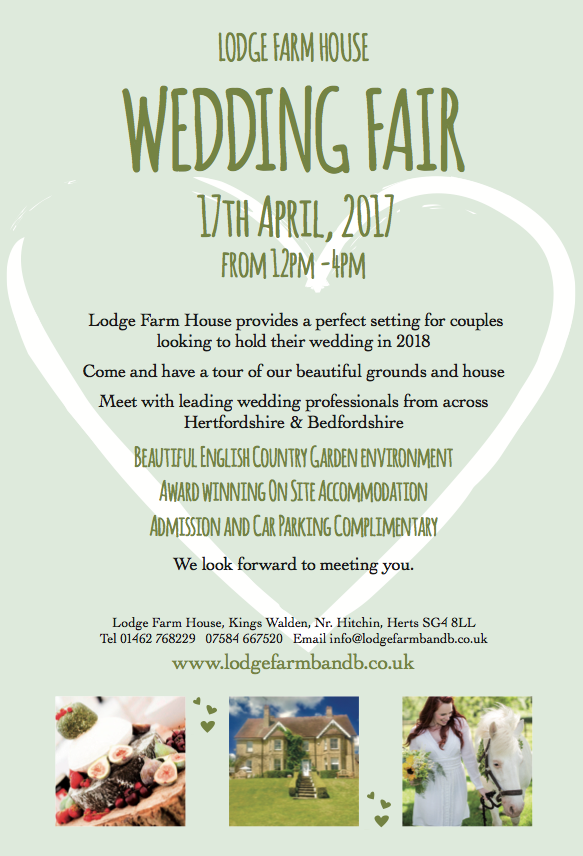 Lodge Farm House Wedding Fair 17 April