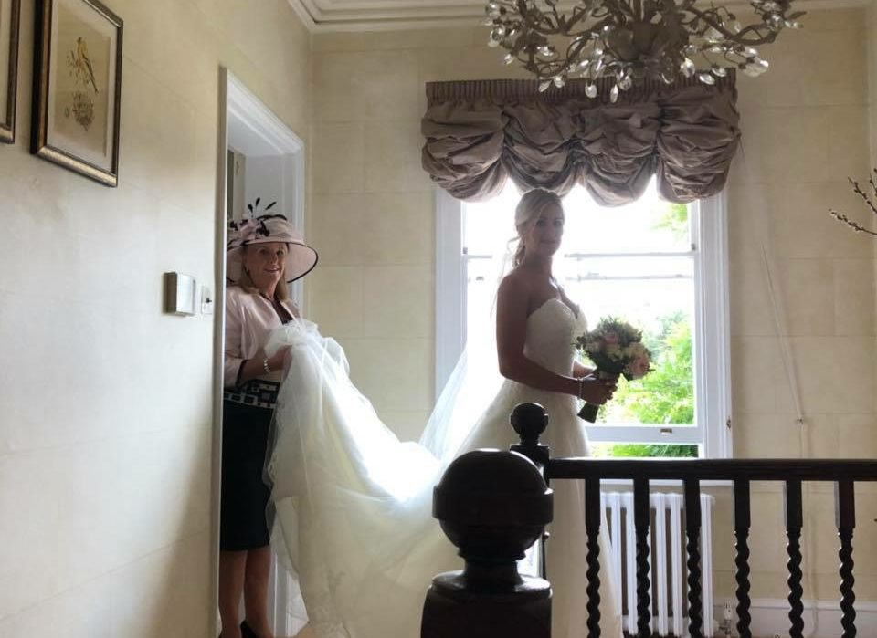 Stunning bride ready for her wedding at Lodge Farm House