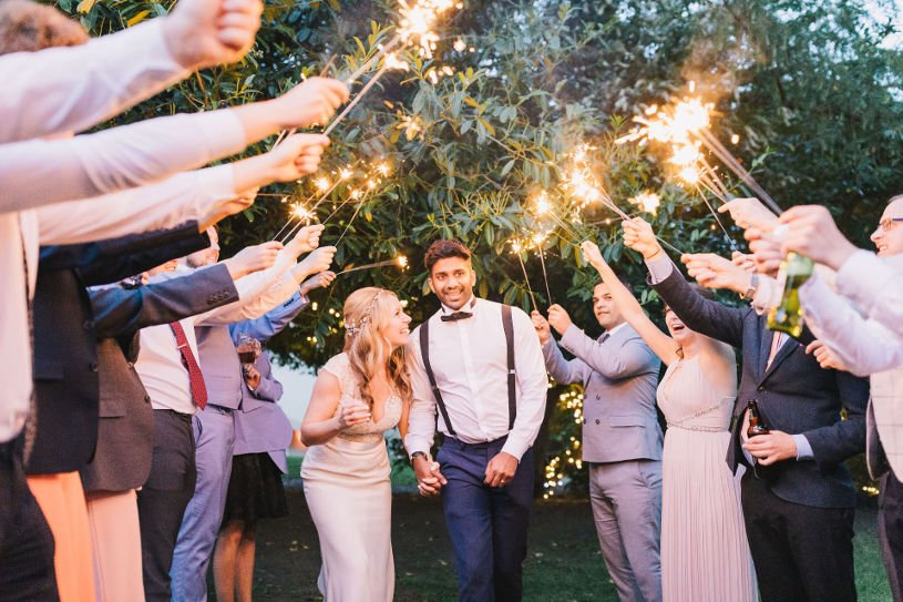 Bespoke summer wedding with sparklers